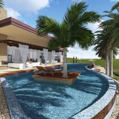 CASA FM: Piscinas de estilo  por Leo Velandia Arquitectos