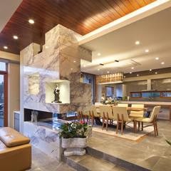 1층 식당과 주방: (주)건축사사무소 모도건축의  다이닝 룸
