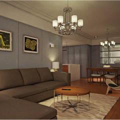 寧靜的夏天:  客廳 by 宇喆室內裝修設計有限公司