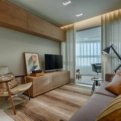 Apartamento Compacto : Salas de estar  por Renata Basques Arquitetura e Design de Interiores,