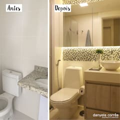 Antes e Depois - Banho com Pastilhas: Banheiros  por Danyela Corrêa Arquitetura