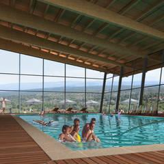 Hotel Resort y Spa 5 estrellas Cerro Dorado: Piletas de estilo  por Development Architectural group