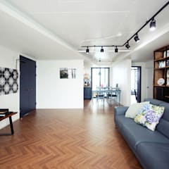 레트로 감성의 43평 아파트인테리어 컨트리스타일 거실 by 로하디자인 컨트리 우드 우드 그레인