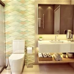 Banheiro aberto à natureza: Banheiros  por D Lange Interiores,Moderno