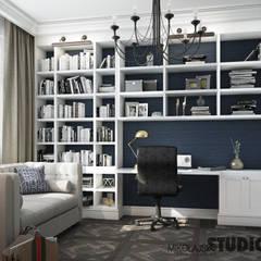 GABINET W Apartamencie: styl , w kategorii Domowe biuro i gabinet zaprojektowany przez MIKOŁAJSKAstudio