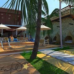 Makao Beach Hostel: Hoteles de estilo  por Alta Gama Arquitectos , Tropical Derivados de madera Transparente
