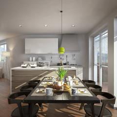 Residenza Green Building: Cucina in stile  di arlan.ch atelier d'architettura