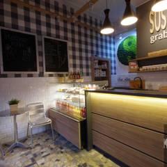 projekt lady Sushi Rolls Grab&Go Kraków: styl , w kategorii Bary i kluby zaprojektowany przez Kvadrat Design