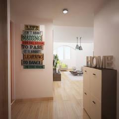 Projecto 3D - Entrada apartamento: Paredes  por Espaços Renovados