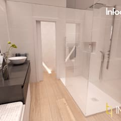 INTERIORISMO: Habitación con vestidor y baño integrados, Ausias March (Valencia): Baños de estilo  de IMPATTO