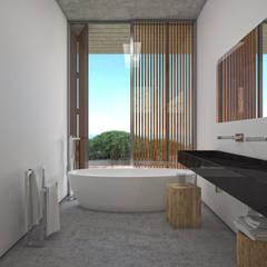 Moradia em Lagos: Casas de banho  por Areacor, Projectos e Interiores Lda