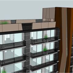 TORRE F / Edificio de departamentos, locales comerciales y estacionamientos: Terrazas de estilo  por Development Architectural group