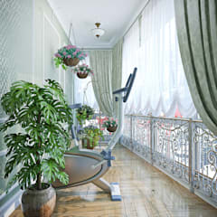 Лоджия в зеленых тонах: Tерраса в . Автор – Студия дизайна Interior Design IDEAS