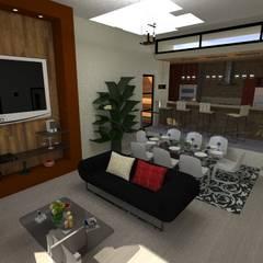 Vivienda Unifamiliar: Salas / recibidores de estilo  por N.A. ARQUITECTURA, Moderno