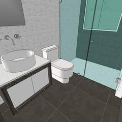Apto. N°1. baño de la habitación principal: Baños de estilo  por MARATEA Estudio