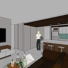 Edificio Multifamiliar Salas de estilo minimalista de MARATEA Estudio Minimalista