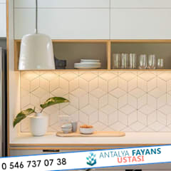 Antalya Fayans Ustası - 0 546 737 07 38 – Mutfak Tezgah Üstü Modern Fayans Döşeme:  tarz Mutfak,