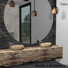 Umywalka z kamienia polnego na blacie: styl , w kategorii Łazienka zaprojektowany przez Lux4home™