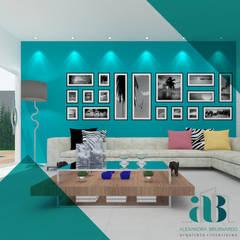غرفة المعيشة تنفيذ Arquiteta Alexandra Brusnardo