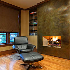 Office Fireplace:  Study/office by Douglas Design Studio
