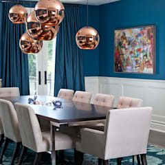 Blue & Rose Gold Dining Room: modern Dining room by Douglas Design Studio
