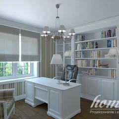 Francuski dworek: styl , w kategorii Domowe biuro i gabinet zaprojektowany przez Home Atelier