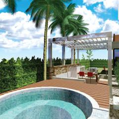 JACUZZI Y LOUNGE EXTERIOR CASA 13, Ciudad Jardin Cali - Colombia: Spa de estilo  por ION arquitectura SAS