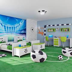Dormitorio infantil hermano futbolista: Dormitorios infantiles de estilo  de lo quiero en mi casa