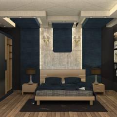 بعض غرف فيلا بالتجمع:  غرفة نوم تنفيذ Taghred elmasry, حداثي