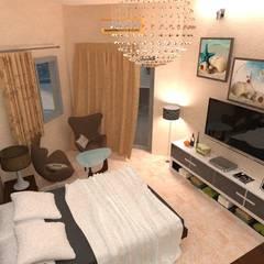 شاليه بالسخنة:  غرفة نوم تنفيذ Taghred elmasry, حداثي