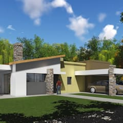 Proyecto Claudia Quadrin: Garajes de estilo  por Estudio de arquitectura MSM  (Mar del Plata+Balcarce+Tandil),Moderno Ladrillos
