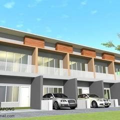 อาคารพณิชย์ 2 ชั้น รับเขียนแบบบ้าน ออกแบบบ้าน:  ระเบียงและโถงทางเดิน by รับเขียนแบบบ้าน&ออกแบบบ้าน
