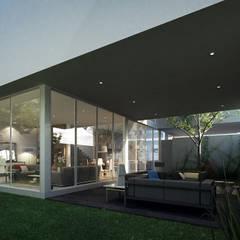 Fachada Posterior Casa AI: Casas de estilo  por TaAG Arquitectura