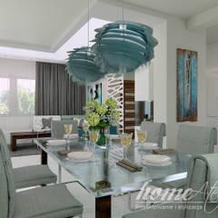 Grynszpanowy modern: styl , w kategorii Jadalnia zaprojektowany przez Home Atelier,