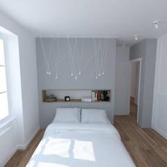 Création d'un appartement dans un ancien couvent - Chambre: Chambre de style  par La Fable