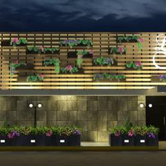 Salón de Fiestas La Foret: tropical Houses by Hall Arquitectos