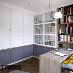 FUNKCJONALNA ZABUDOWA W GABINECIE: styl , w kategorii Domowe biuro i gabinet zaprojektowany przez MIKOŁAJSKAstudio