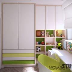 ZIELONY POKÓJ DZIECKA : styl , w kategorii Pokój dziecięcy zaprojektowany przez MIKOŁAJSKAstudio
