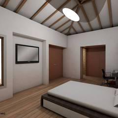 HABITACION PRINCIPAL CASA CAMPESTRE: Habitaciones de estilo  por Grupo Inovarq