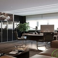 Интерьер кабинета в стиле лофт: Рабочие кабинеты в . Автор – Компания архитекторов Латышевых 'Мечты сбываются', Лофт