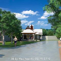 ภาพ3Dโครงการหมู่บ้าน:  บ้านและที่อยู่อาศัย โดย MaxShop, ผสมผสาน คอนกรีต