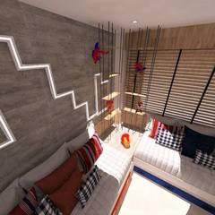 Quanto Super Heróis: Quarto infantil  por Duna Arquitetura,Industrial Derivados de madeira Transparente