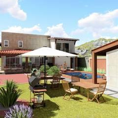 Jardín y Alberca: Jardines de estilo  por IAD Arqutiectura