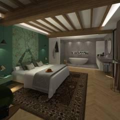Maison pisé - Ouest lyonnais: Chambre de style de style eclectique par Agence Maïlys MOUTON