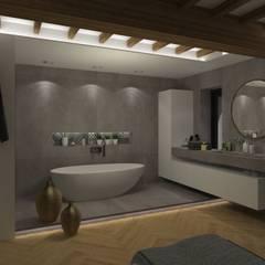 Maison pisé - Ouest lyonnais: Salle de bains de style  par Agence Maïlys MOUTON