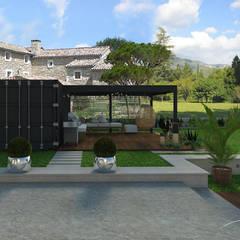 Jardin des sens - Drôme Provençale: Terrasse de style  par Agence Maïlys MOUTON