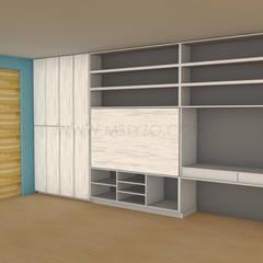 Render inicial: Salas multimedia de estilo minimalista por MSTYZO Diseño y fabricación de mobiliario