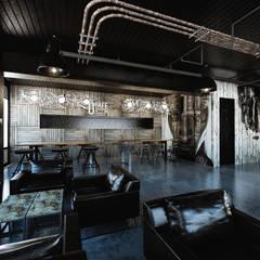[Café ]  180평 패셔너블리한 공간 - 인더스트리얼 인테리어디자인: 디자인 이업의  거실