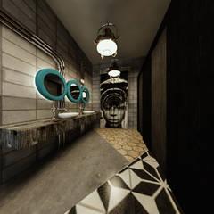 [Café ]  180평 패셔너블리한 공간 - 인더스트리얼 인테리어디자인: 디자인 이업의  욕실,인더스트리얼