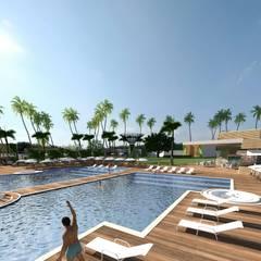área da piscina: Hotéis  por SAULO BARROS arquitetos